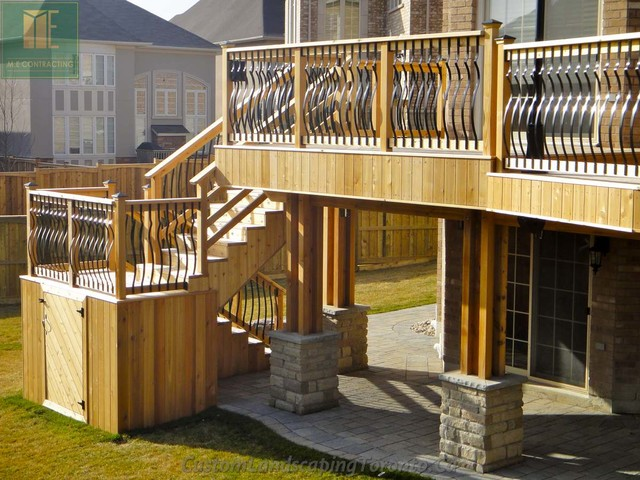 Cedar Deck With Walkout Basement And Pergola Traditional