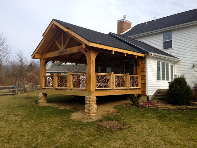 Cedar patio cover with outdoor kitchen patio - Cedar Timber Covered Deck
