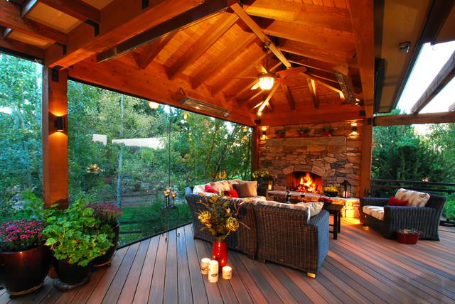 indoor garage lighting ideas - Colorado Outdoor Living Room Rustic Deck denver by