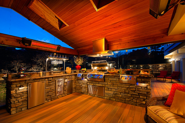 Beau Colorado Springs Outdoor Kitchen Transitional Deck