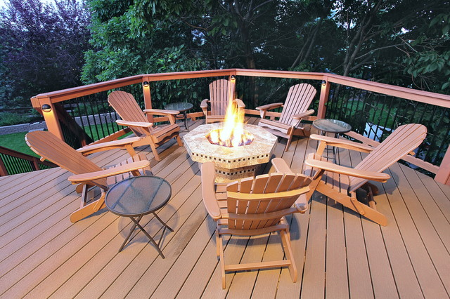 Composite Deck With Fire Pit Traditional Deck Denver