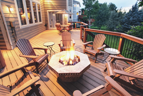 decks with fire pits designs