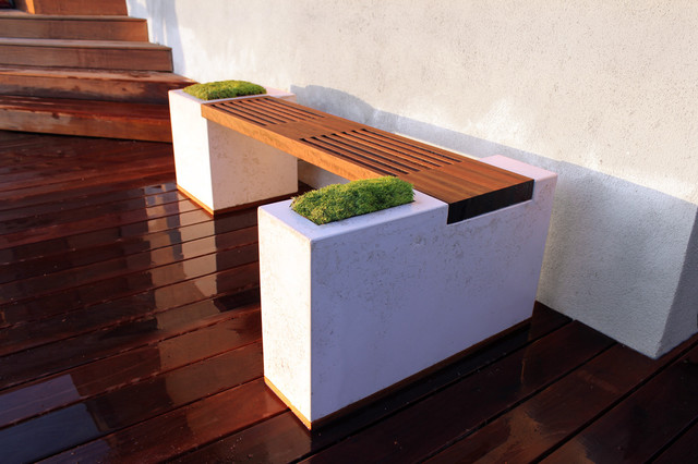 Concrete And Ipe Bench Modern Deck Los Angeles By Stone Cold Concrete