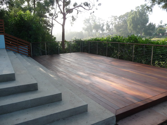 Exceptional Concrete Patio And Ipe Deck Contemporary Deck