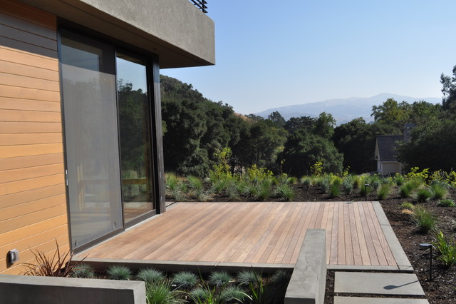Concrete Stepping Pads Ipe Deck Water Feature Grasses