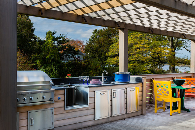 Huge Transitional Backyard Outdoor Kitchen Deck Idea In Boston With A  Pergola