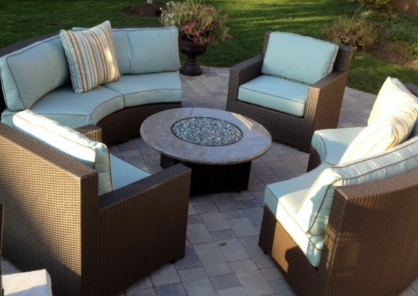 Gas Fire Pit Furniture Set Contemporary Deck Other Metro By All Backy