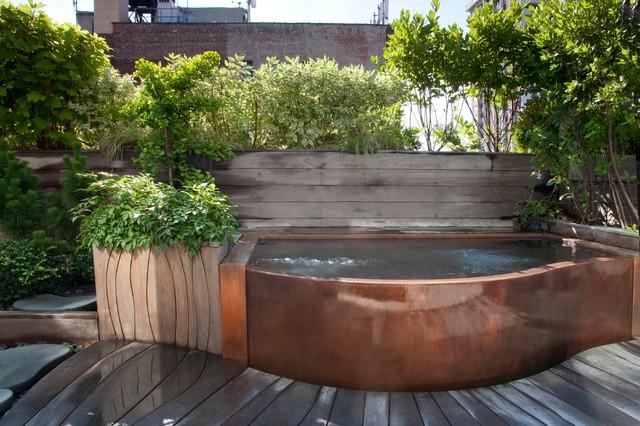 Copper Rooftop Hot Tub Craftsman Landscape New York