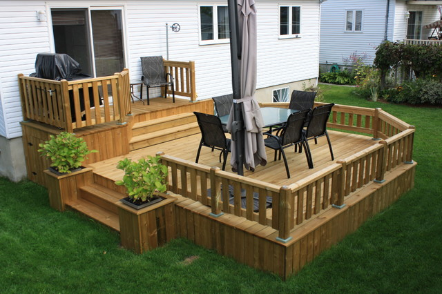 Patio deck art design contemporary deck for Construire deck piscine