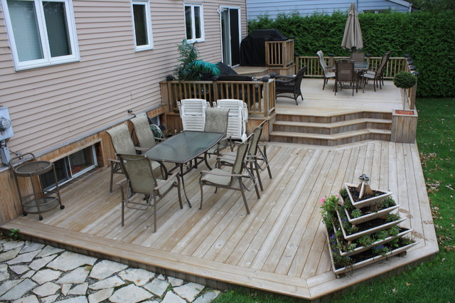 Patio Deck-Art Design® - Contemporary - Deck - montreal ... on Tiered Patio Ideas id=66383