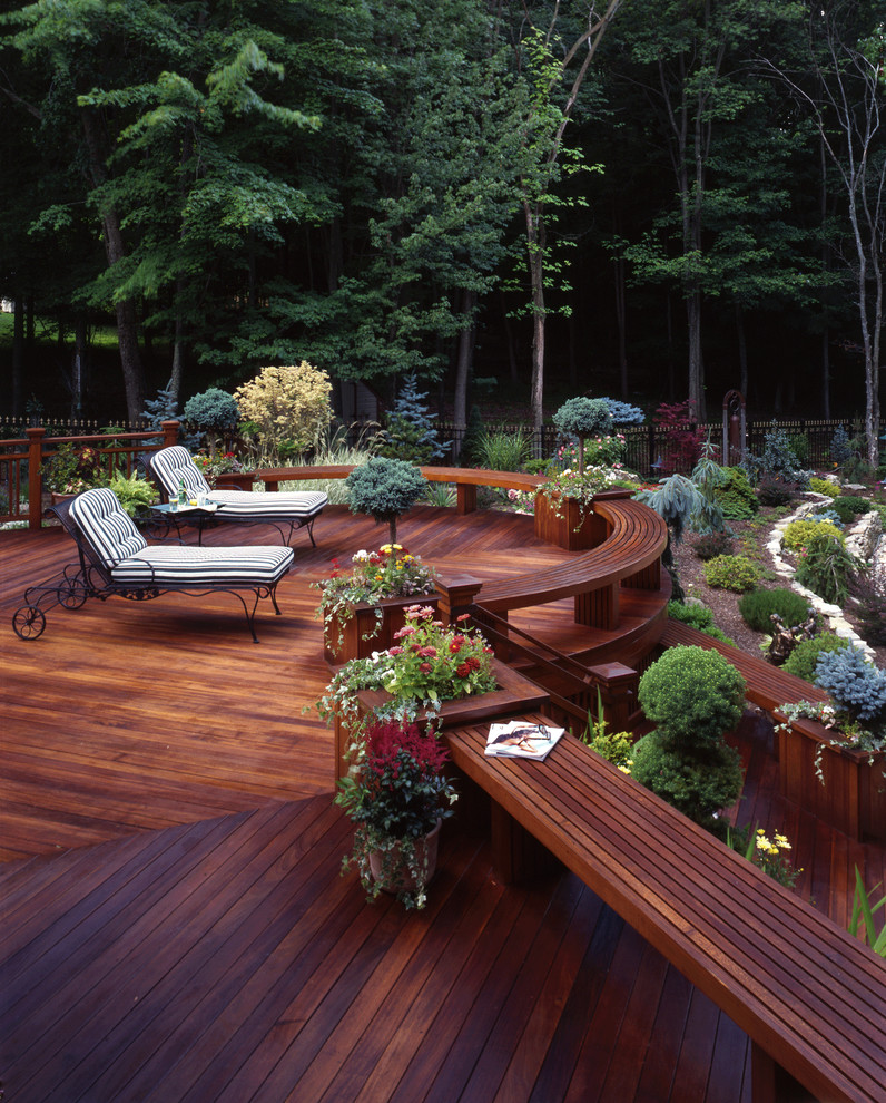 Deck - large traditional backyard deck idea in New York with no cover