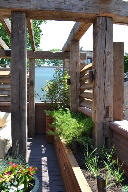 Contemporary Outdodor Space With Reclaimed Timber Pergola