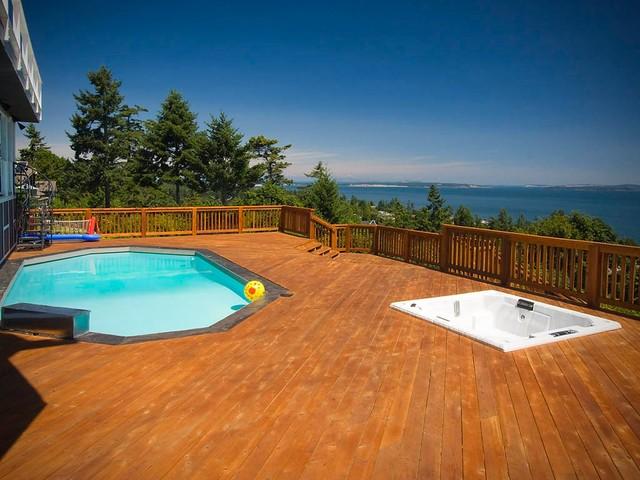Cordova Bay View Deck Pool Reclaimed Heritage Fir Floors