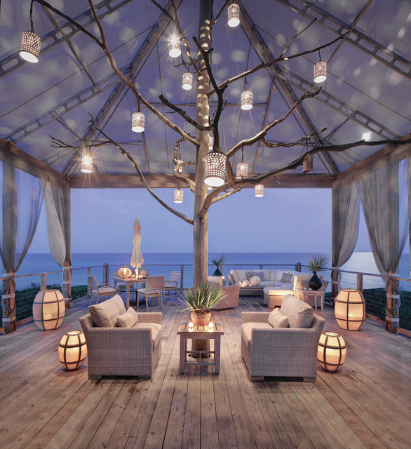 cozy outdoor living room - beach style - deck - minneapolis -