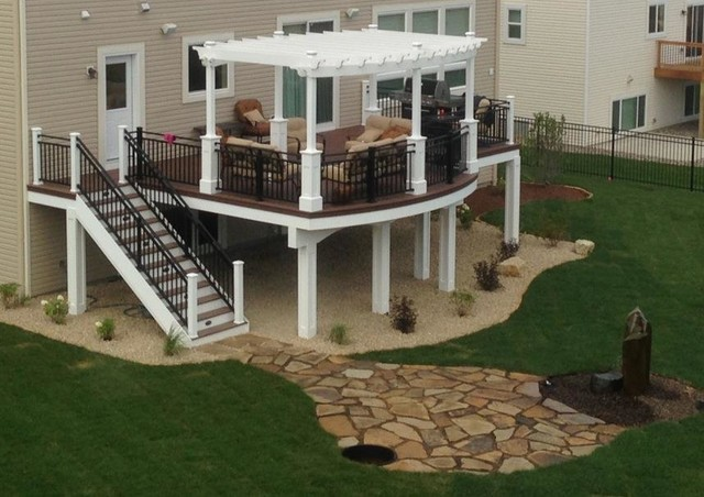 Curved Deck With Pergola Craftsman Deck Minneapolis By Dakota County Lumber Co