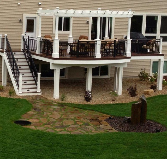 Curved Deck With Pergola Craftsman Minneapolis
