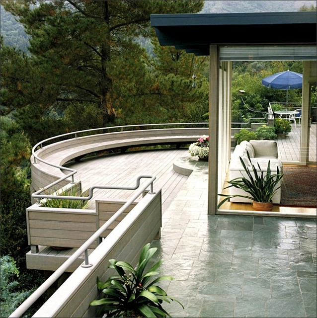 Curved Redwood Deck Contemporary Deck San Francisco