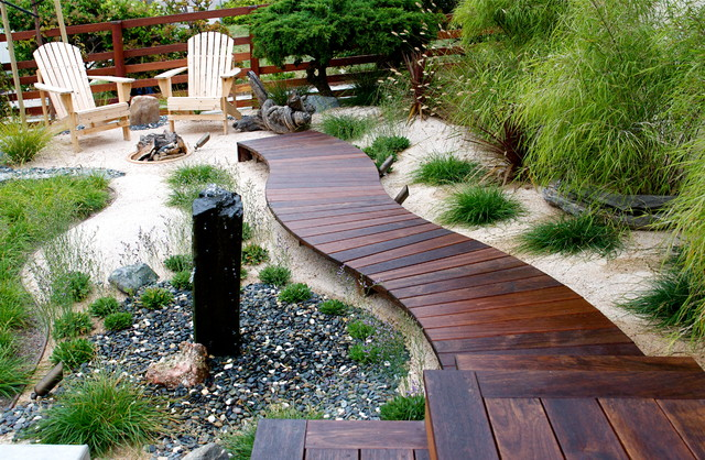 Curved walkway beach style deck san diego by sd for Sd garden designs