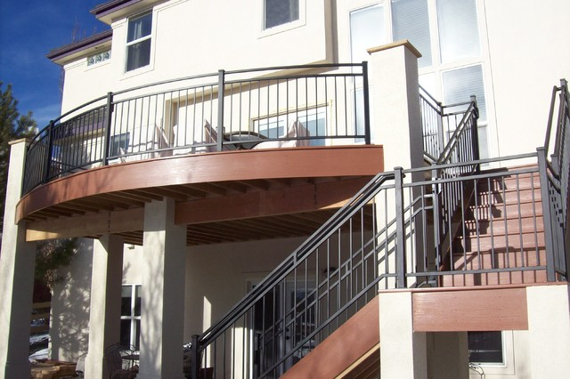 Custom Curved Deck with Iron Railings and
