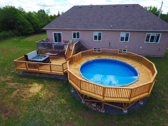 Custom deck with above ground pool - Custom above ground pool ...