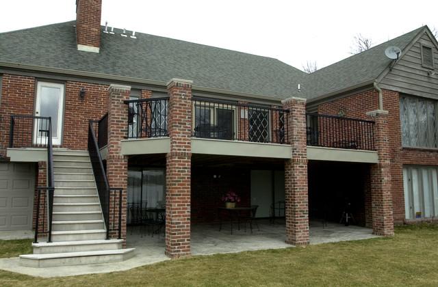 Custom Deck With Brick Columns