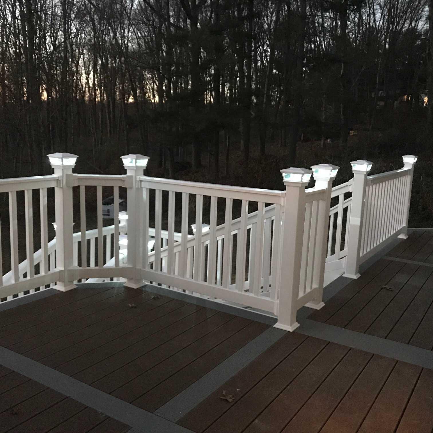 Custom Designed Deck - Vinyl Railings, Solar Post Caps