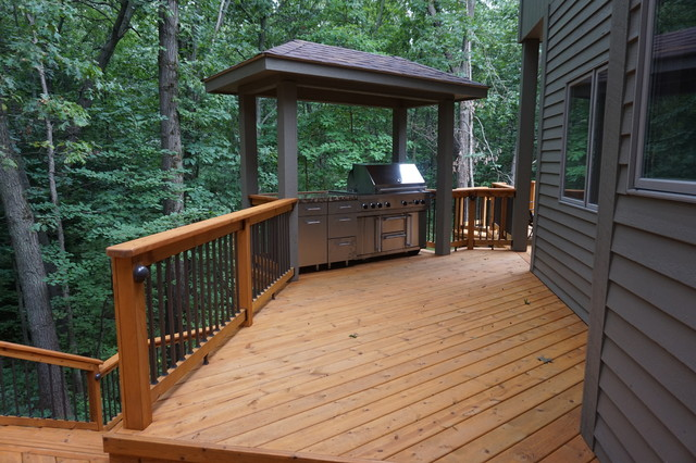 Custom Designed Multi Level Deck With Outdoor Covered Grilling Area And Screen Irustic Terrace Chicago