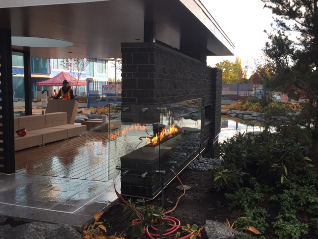Custom Outdoor Linear Fireplace Contemporary Deck Vancouver