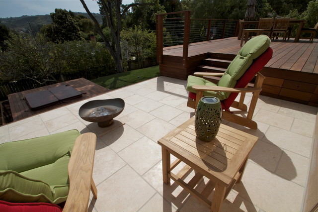 Deck and tile contemporary-deck