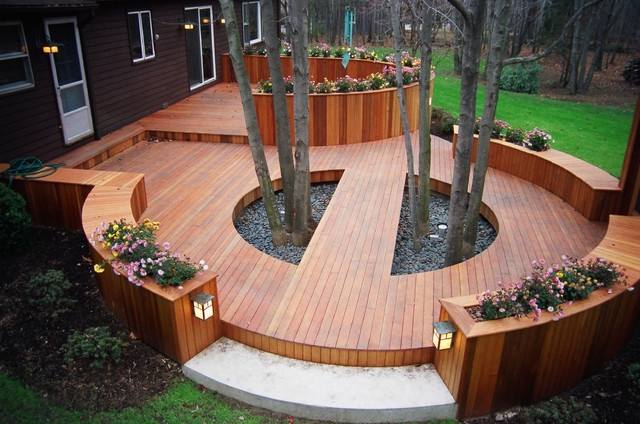 Deck Built Around Trees Contemporary