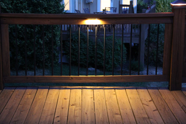 Deck Lighting Using Low Under Railing