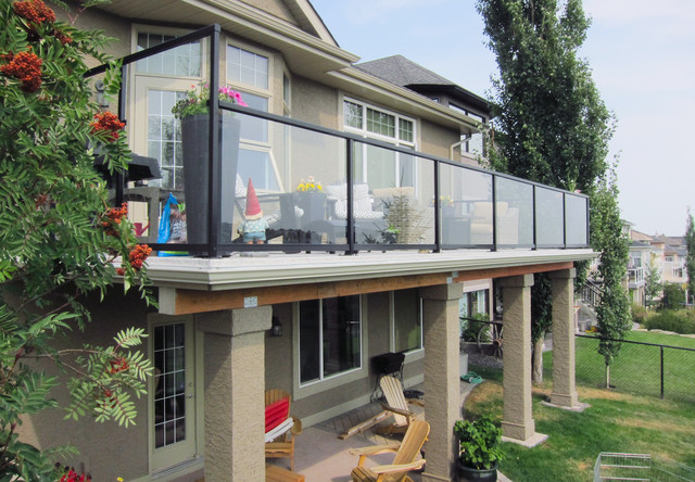 Deck over walkout basement traditional deck calgary Walkout basement deck designs