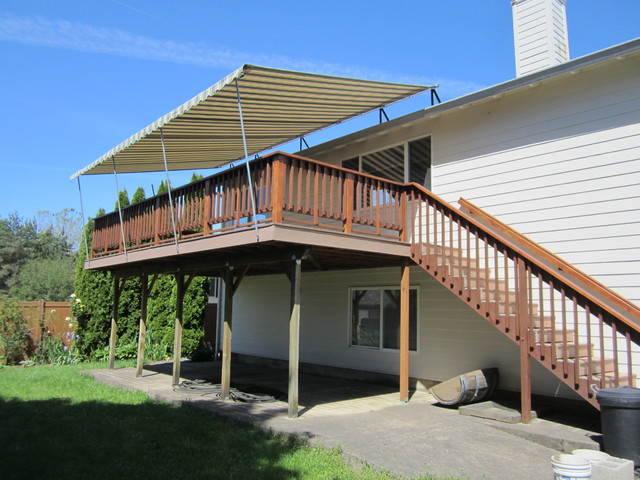 Deck pipe frame canopy traditional deck portland by pike awning company - Shade canopy for deck ...