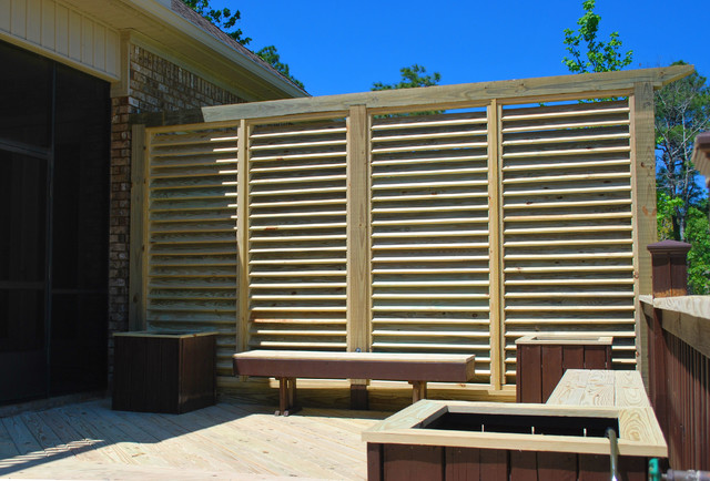 Deck Rebuild And Louver Privacy Wall Traditional