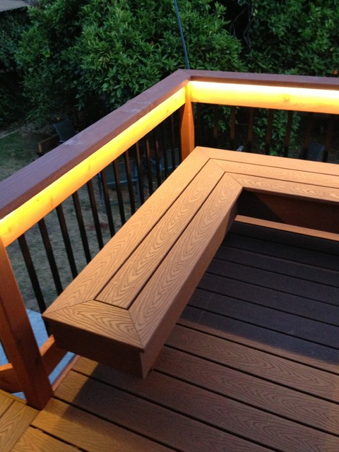 Deck with bench (composite & redwood) - Contemporary ...