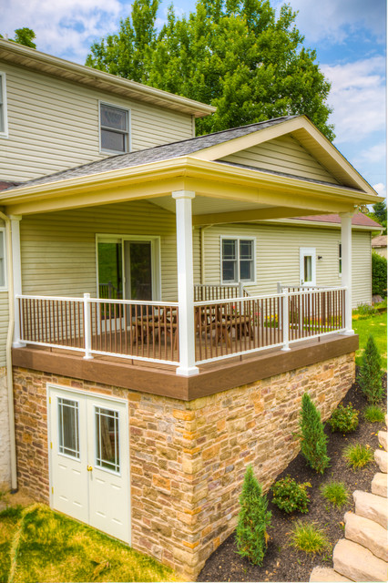 Deck With Roof Over And Stone Veneer Traditional Deck