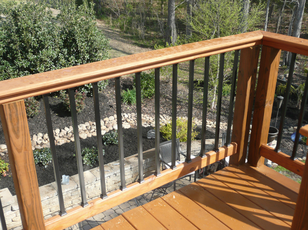 Deck - large backyard deck idea in Charlotte with no cover