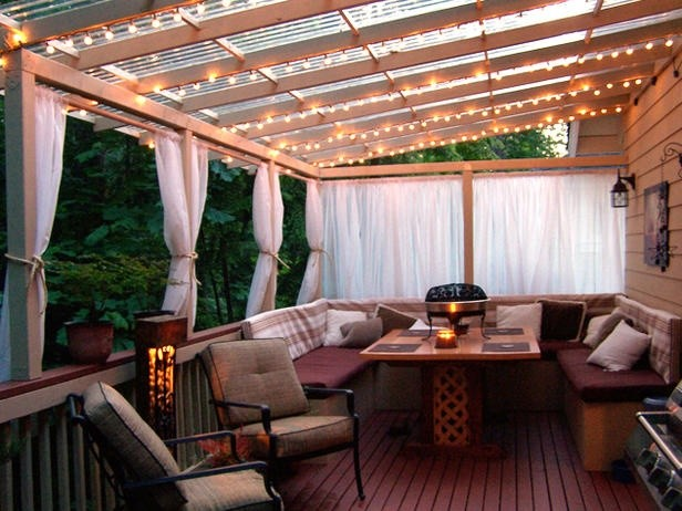 Patio Furniture Design Ideas Prepossessing With Covered Deck with Lights Images