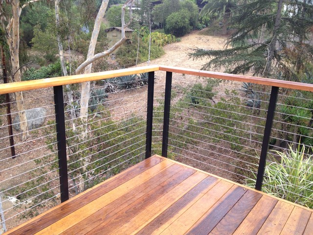 DIY Cable Railing Contemporary Terrace And Balcony