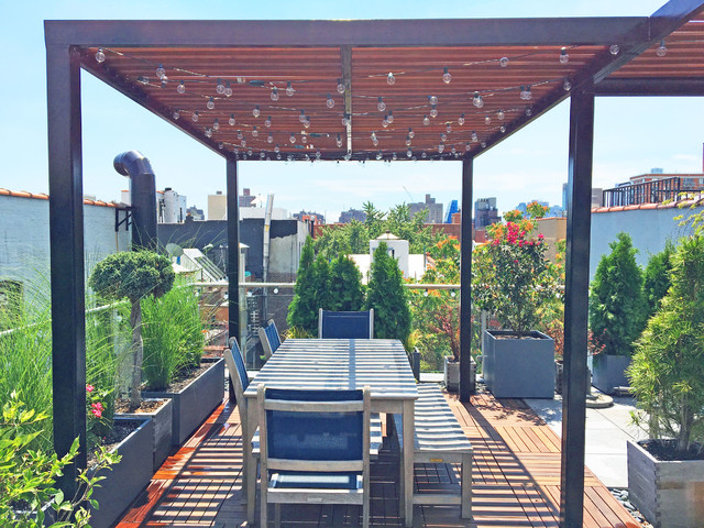 East Village Rooftop Garden With Pergola Contemporary Deck New