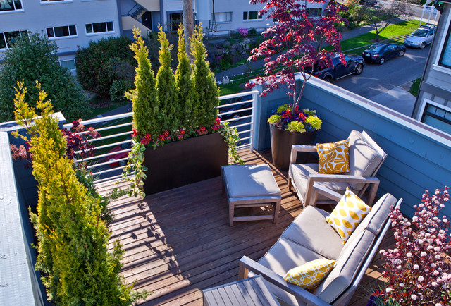 Eclectic Small Townhouse Courtyards contemporarydeck