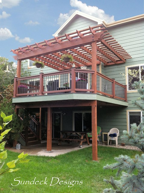 Elevated evergrain deck with pergola traditional deck for Sundecks designs