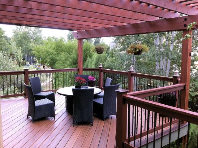 Elevated Evergrain Deck With Pergola Traditional Deck Denver By Sundeck Designs Llc
