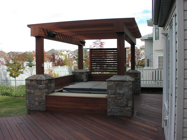 Exotic Decking Benches Privacy Screen And Pergola