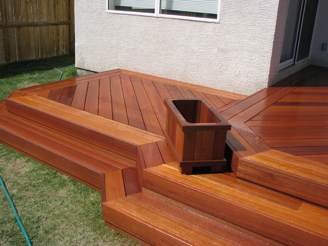 Exotic decking stairs and planter box traditional for Box steps deck