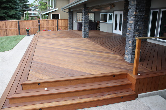 Exotic decking stairs and railing traditional deck for Hardwood outdoor decking