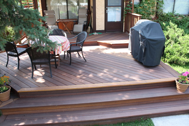 Elegant Exotic Decking, Stairs, And Railing Traditional Terrace