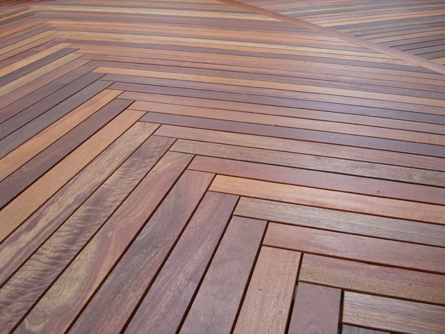 Exotic Herringbone Decking Mediterranean Deck