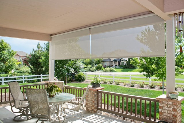 Exterior Roller Shades Contemporary Deck Other Metro By Deco Window Fashions