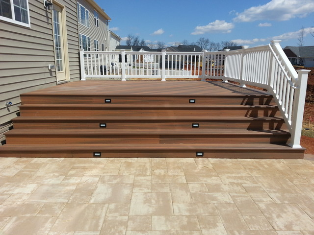 Fiberon Deck With Steps Down To Custom Paver Patio In